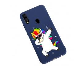 Husa Silicon Soft Upzz Print Candy Samsung Galaxy A20e Unicorn Albastru