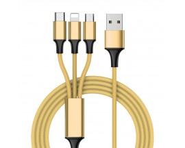 Cablu Incarcare Upzz 3 in 1 Nylon USB - micro USB / Lightning / USB-C Cable 1 m- Gold