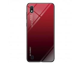 Husa Spate Upzz Gradient Glass Pentru Samsung Galaxy A10 ,spate Sticla Rezistenta , Negru Rosu