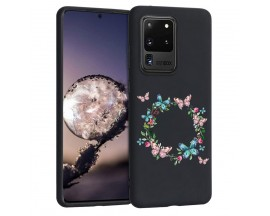 Husa Silicon Soft Upzz Print Candy Samsung Galaxy S20 Ultra Butterflies Circle Negru
