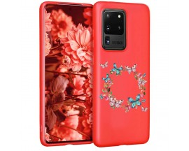 Husa Silicon Soft Upzz Print Candy Samsung Galaxy S20 Ultra Butterflies Circle Rosu