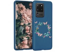 Husa Silicon Soft Upzz Print Candy Samsung Galaxy S20 Ultra Butterflies Circle Albastru