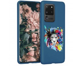 Husa Silicon Soft Upzz Print Candy Samsung Galaxy S20 Ultra Flower Lion Albastru