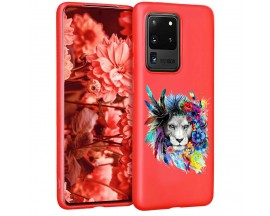 Husa Silicon Soft Upzz Print Candy Samsung Galaxy S20 Ultra Flower Lion Rosu