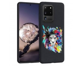 Husa Silicon Soft Upzz Print Candy Samsung Galaxy S20 Ultra Flower Lion Negru