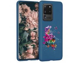 Husa Silicon Soft Upzz Print Candy Samsung Galaxy S20 Ultra Flower Pattern Albastru