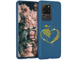Husa Silicon Soft Upzz Print Candy Samsung Galaxy S20 Ultra Gold Heart Albastru