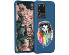 Husa Silicon Soft Upzz Print Candy Samsung Galaxy S20 Ultra Multicolor Lion Albastru