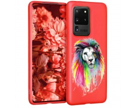 Husa Silicon Soft Upzz Print Candy Samsung Galaxy S20 Ultra Multicolor Lion Rosu