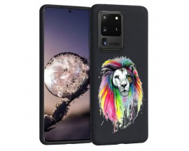 Husa Silicon Soft Upzz Print Candy Samsung Galaxy S20 Ultra Multicolor Lion Negru