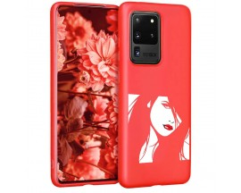 Husa Silicon Soft Upzz Print Candy Samsung Galaxy S20 Ultra Red Lips Rosu