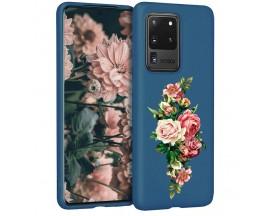 Husa Silicon Soft Upzz Print Candy Samsung Galaxy S20 Ultra Roses Albastru