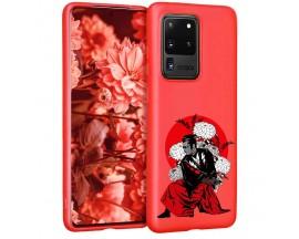Husa Silicon Soft Upzz Print Candy Samsung Galaxy S20 Ultra Samurai Rosu