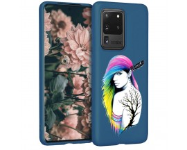 Husa Silicon Soft Upzz Print Candy Samsung Galaxy S20 Ultra Tatoo Girl Albastru