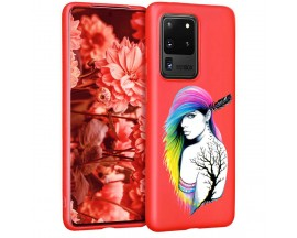 Husa Silicon Soft Upzz Print Candy Samsung Galaxy S20 Ultra Tatoo Girl Rosu
