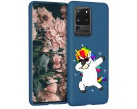Husa Silicon Soft Upzz Print Candy Samsung Galaxy S20 Ultra Unicorn Albastru