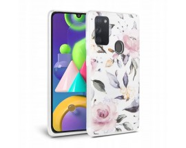 Husa Spate Tech-protect Floral Silicone Samsung Galaxy A21s ,Alb