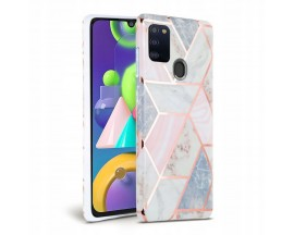 Husa Spate Tech-protect Marble Silicone Samsung Galaxy A21s, Roz