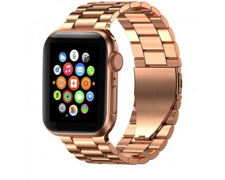 Curea Ceas Upzz Tech Stainless Compatibila Cu Apple Watch 1/2/3/4/5/6 (38/40MM) Rose Gold