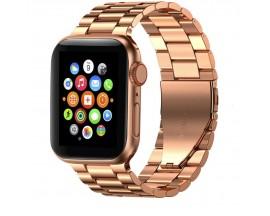 Curea Ceas Upzz Tech Stainless Compatibila Cu Apple Watch 1/2/3/4/5/6 (42/44mm) Rose Gold