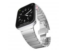 Curea LinkBand Upzz Tech Protect compatibila Cu Apple Watch 1/2/3/4/5/6 (42/44mm) Silver