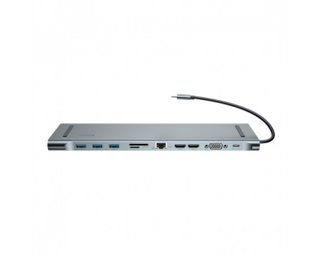 Hub , Baseus Enjoyment MacBook / notebook stand Type C PD / VGA / HDMI / RJ45 / USB 3.0 / SD, TF, micro SD Dark gri