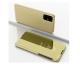 Pachet Husa Tip Carte Mirror Samsung Galaxy M21, Gold Cu Folie Sticla Upzz Glass Inclusa In Pachet
