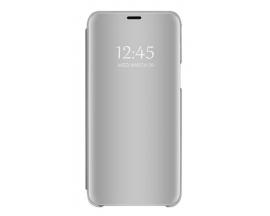 Pachet Husa Tip Carte Mirror Samsung Galaxy M21, Silver Cu Folie Sticla Upzz Glass Inclusa In Pachet
