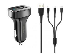 Incarcator Auto Usams C13 ,2x USB ,2.1A , Cu Cablu 3 in 1 ,MicroUsb/Lightning/Type-C , Negru - NTU35YTSC13TZ