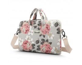 Husa Upzz Tech Briefcase  Canvaslife Sleeve Compatibila Cu Laptop / Macbook 15-16 Inch White Rose