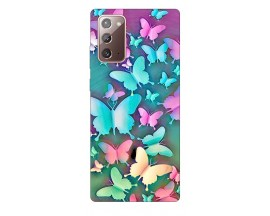 Husa Silicon Soft Upzz Print Samsung Galaxy Note 20 ModelColorfull Butterflies