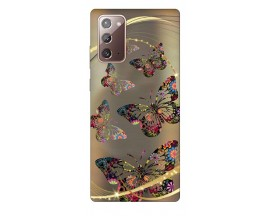 Husa Silicon Soft Upzz Print Samsung Galaxy Note 20 Model Golden Butterfly