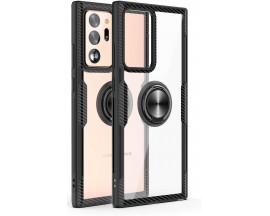 Husa Spate Premium Iring Metalic Upzz Clear Samsung Galaxy Note 20 Ultra Cu Ring Metalic Pe Spate Transparent