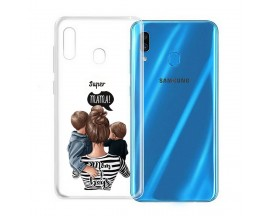 Husa Silicon Soft Upzz Print Samsung Galaxy A20e Model Mom2