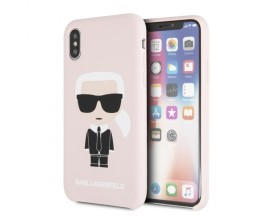 Husa Premium Originala Karl Lagerfeld iPhone X / Xs ,colectia Silicone Iconic Roz -KLHCPXSLFKPI