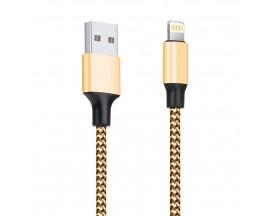 Cablu Date Upzz Textil Lightning Gold ,2A ,1M lungime