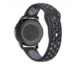 Curea Ceas Upzz Tech Softband Compatibila Cu Samsung Galaxy Watch 46mm , Silicon ,negru-gri