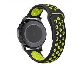 Curea Ceas Upzz Tech Softband Compatibila Cu Samsung Galaxy Watch 46mm , Silicon ,negru-verde
