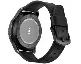 Curea Ceas Upzz Tech Herms Compatibila Cu Samsung Galaxy Watch 46mm , Piele Ecologica ,negru