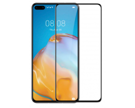 Folie Full Cover Nano Glass Flexible Bestsuit Huawei P40 Pro ,Transparenta Cu Margine Neagra -Merge Amprenta