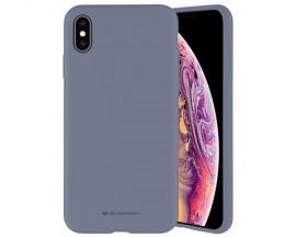 Husa Spate Mercury Silicone iPhone X / Xs ,cu Interior Alcantara ,Gri Lavander