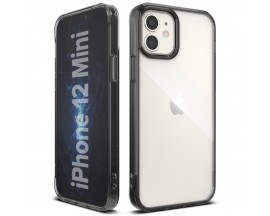 Husa Premium Ringke Fusion Pc Compatibila Cu iPhone 12 Mini Transparenta Cu Rama Fumurie