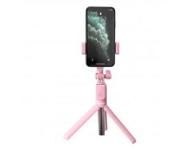 Selfie Stick Tripod Baseus, Telecomanda Wireless Si Suport De Telefon, Roz