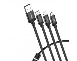 Cablu Date / Incarcare Baseus , 3 In 1 Cu 3 Mufe Lightning /microusb /type-c ,1,2M , 3,5A , 460Mbps,Negru -CAMLT-PY01