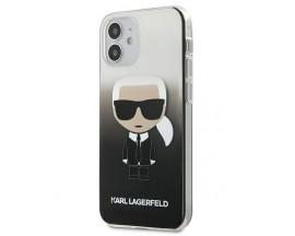 Husa Premium Originala Karl Lagerfeld Compatibila Cu iPhone 12 Mini ,Colectia Gradient Ikonik Karl,Negru-KLHCP12STRDFKBK