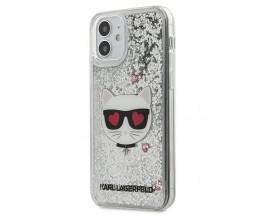 Husa Premium Originala Karl Lagerfeld Compatibila Cu iPhone 12 Mini ,Colectia Liquid Glitter Choupette,Silver - KLHCP12SLCGLSL
