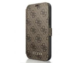Husa Premium Originala Guess Tip Carte iPhone 12 Mini ,Colectia Charm , Maro -GUFLBKSP12S4GB