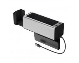 Organizator Masina Baseus 2 x Usb cu Incarcare telefon ,Suport Pahar  Silver - CRCWH-A0S
