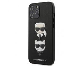 Husa Premium Karl Lagerfeld iPhone 12 Pro Max ,colectia Saffiano Karl & Choupette ,negru - Klhcp12lsakickcbk