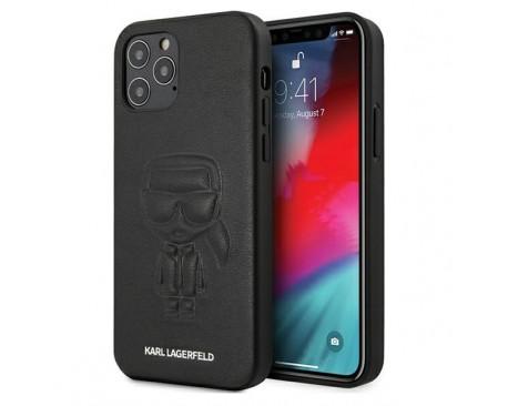 Husa Premium Karl Lagerfeld iPhone 12 / iPhone 12 Pro  ,Colectia Karl Ikonik Outline ,Negru - KLHCP12MPCUIKBK